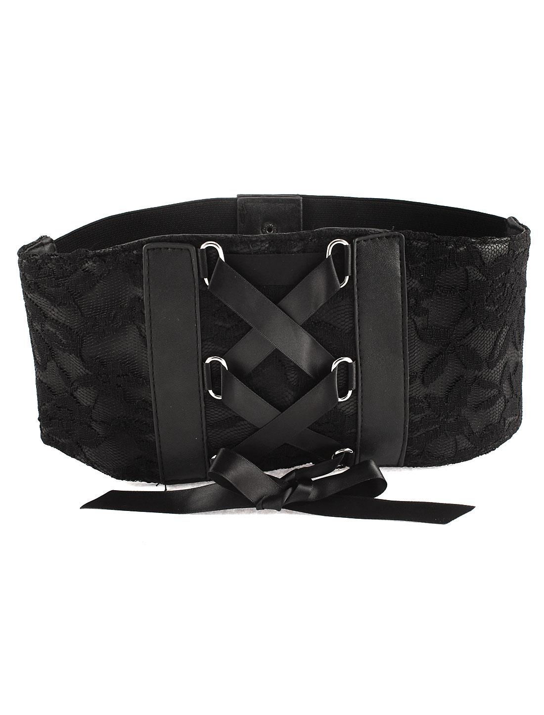 Black Press Stud Button Lace Stretchy Waist Belt for Lady