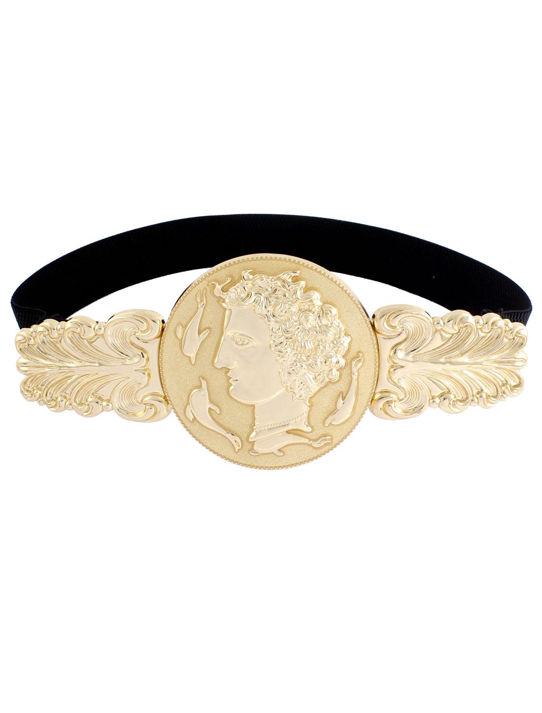 Gold Tone Queen Design Interlocking Buckle Black Cinch Belt