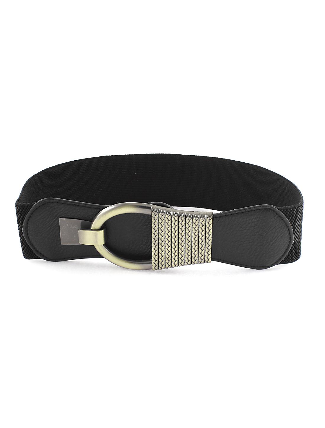 Black Bronze Tone Interlocking Buckle Waist Belt for Lady