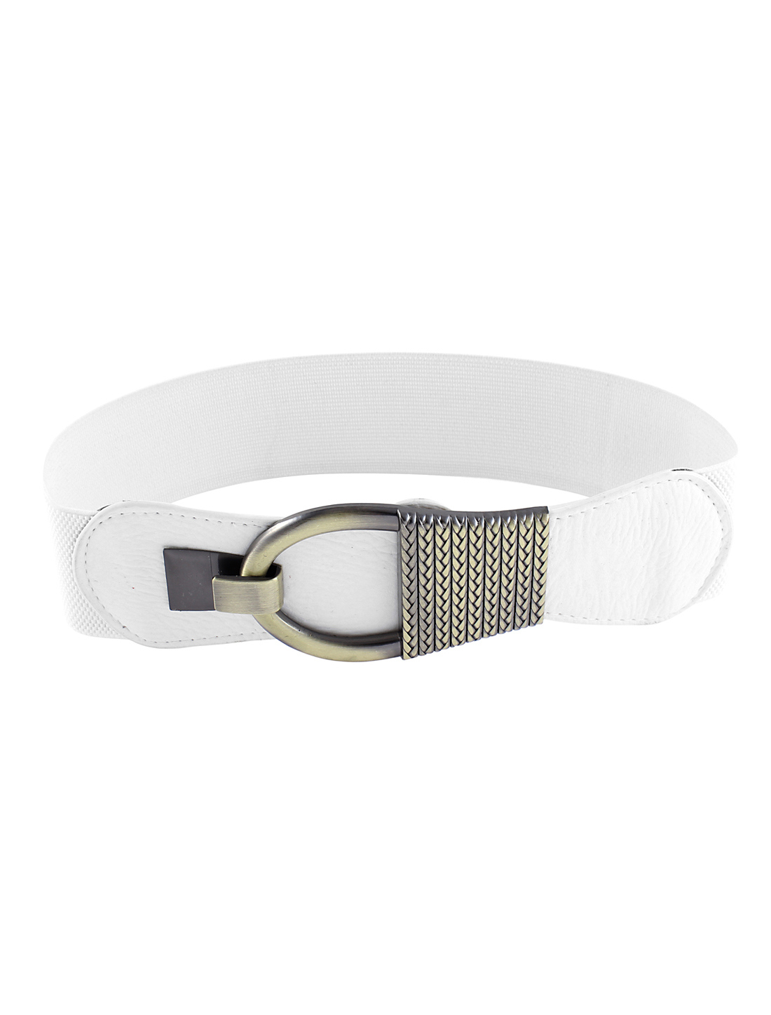 Metal Buckle WhiteTextured Stretch Cinch Belt for Lady
