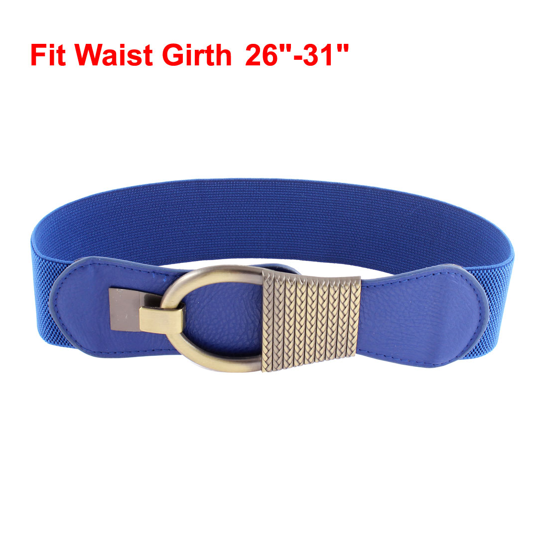 Blue Bronze Tone Interlocking Buckle Textured Stretch Cinch Belt