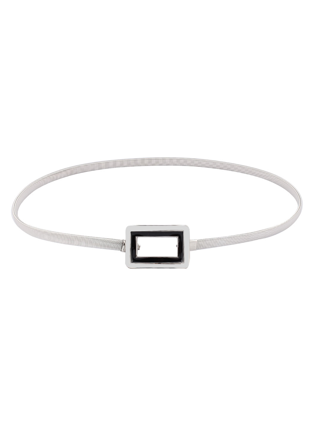 Silver Tone Rectangle Interlocking Buckle Stretchy Waist Chain for Lady