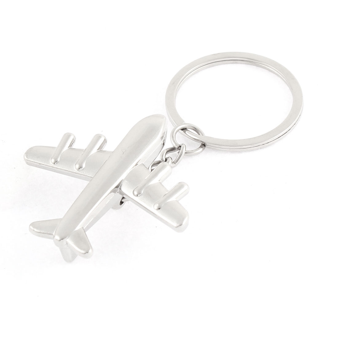 Silver Tone Plane Shape Stainless Steel Pendant Key Ring