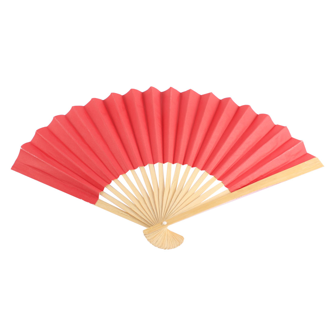 Foldable Red Pure Paper Bamboo Frame Folding Hand Fan