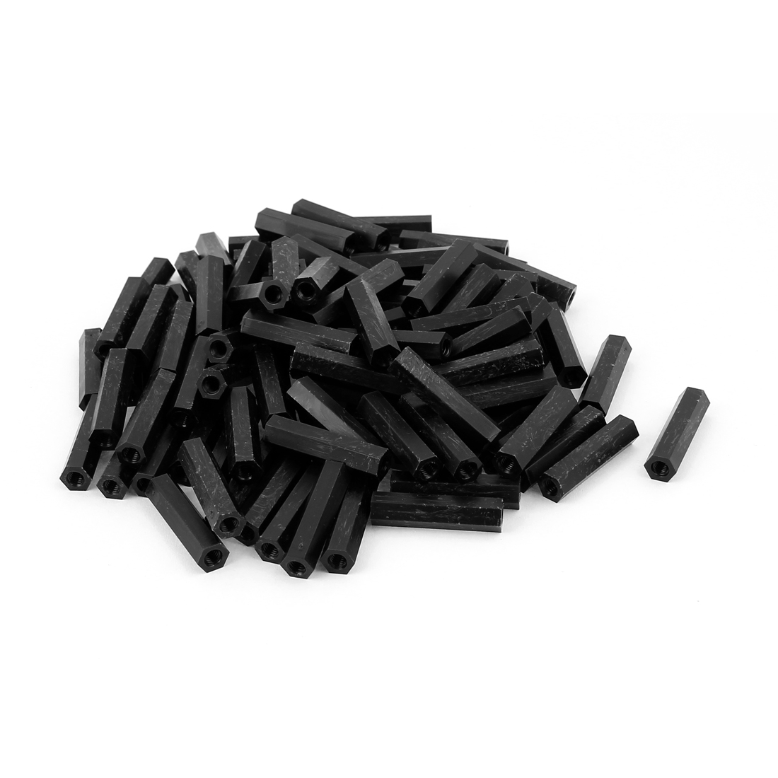 M4x30mm Female Thread Nylon Hex Standoff Spacer PCB Pillar Screw Nut Black 100pcs