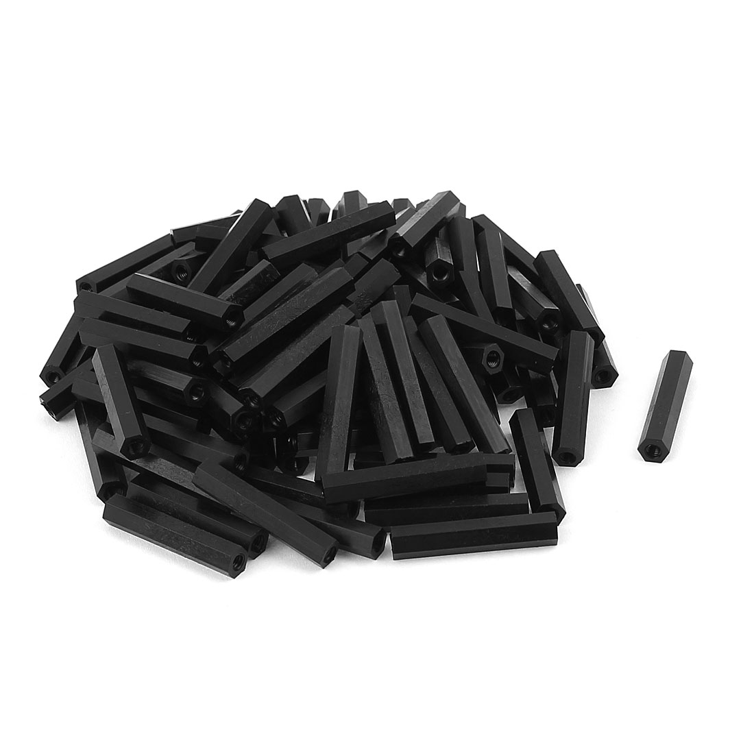 M3x30mm Female Thread Nylon Hex Standoff Spacer PCB Pillar Screw Nut Black 100pcs