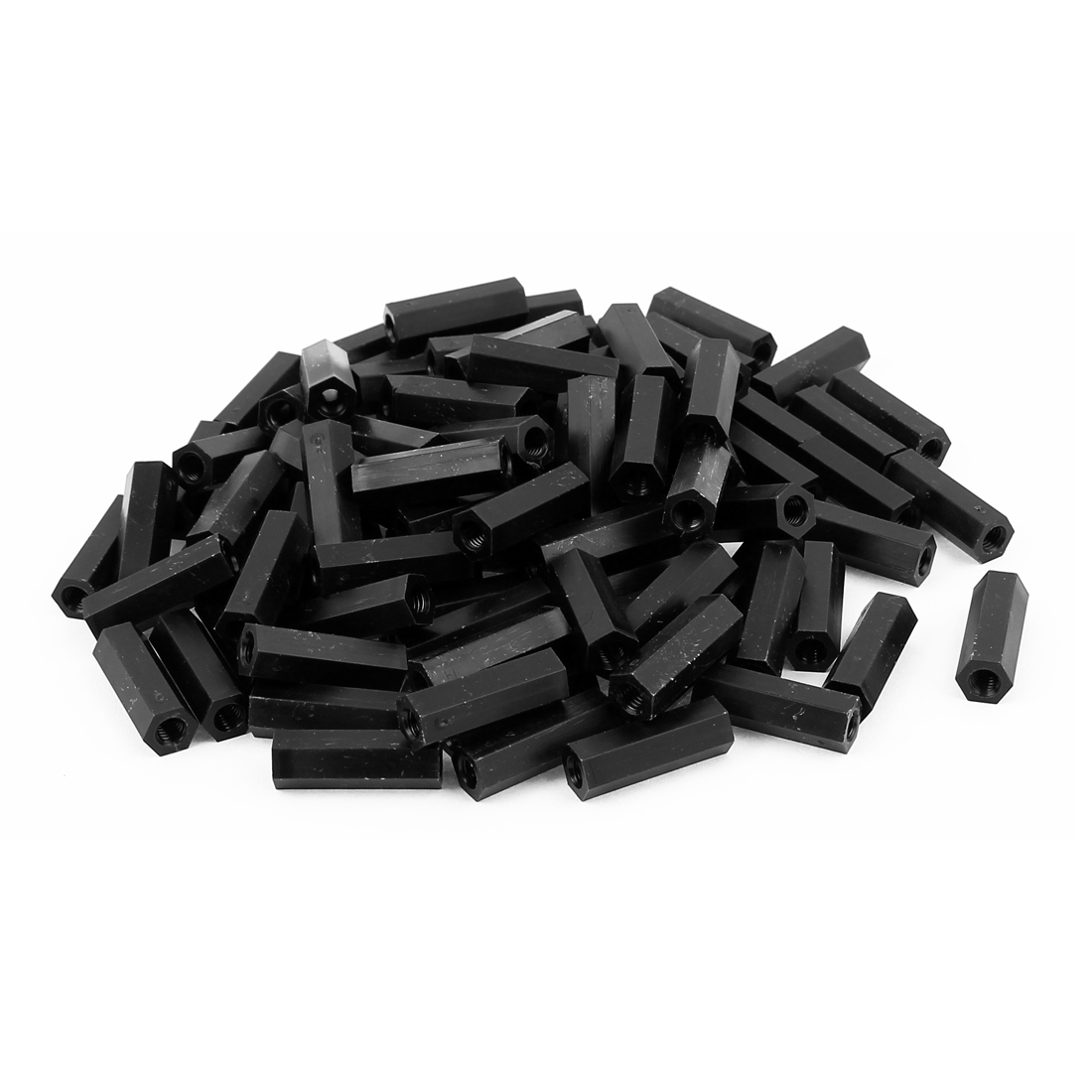 M4x22mm Female Thread Nylon Hex Standoff Spacer PCB Pillar Nut Black 100pcs