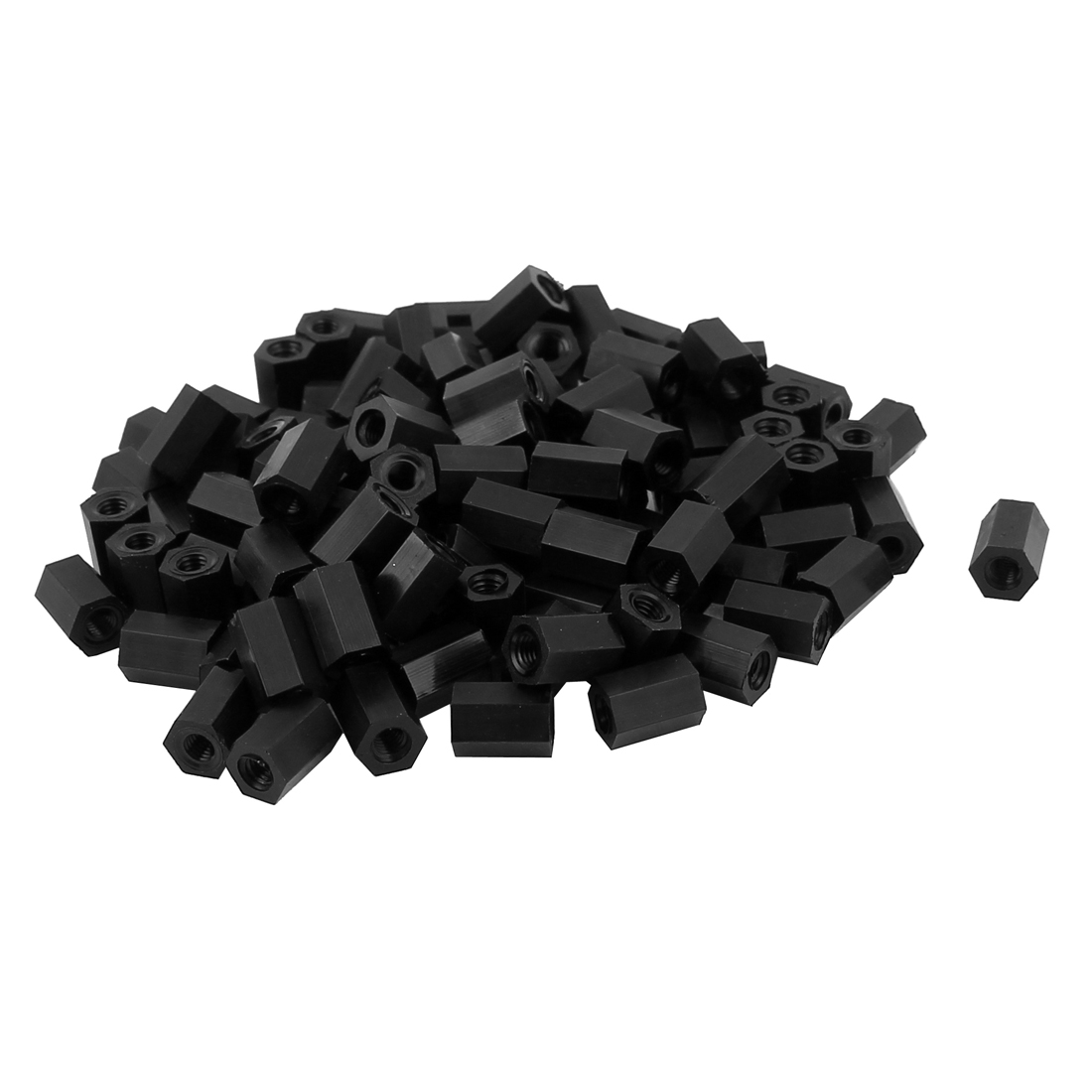 M3x8mm Female Thread Nylon Hex Standoff Spacer PCB Pillar Screw Nut Black 100pcs