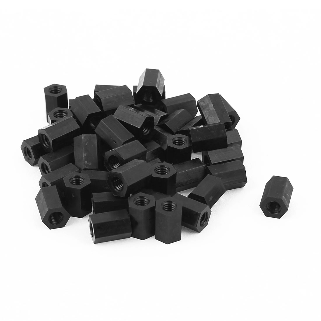 M4x10mm Female Thread Nylon Hex Standoff Spacer PCB Pillar Nut Black 50pcs