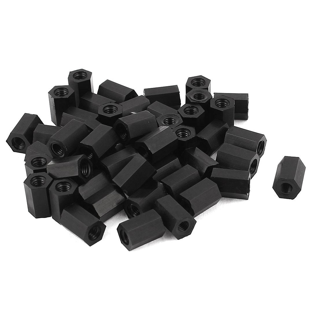 M3x8mm Female Thread Nylon Hex Standoff Spacer PCB Pillar Nut Black 50pcs