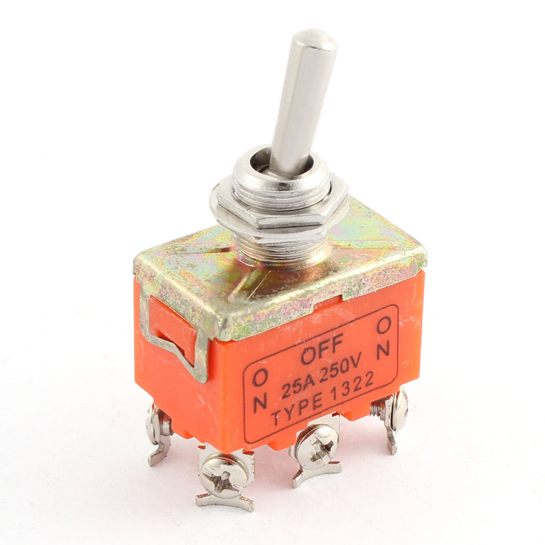 AC 250V 25A DPDT ON-OFF-ON 3 Positions 6 Screw Terminals Panel Mount Self Locking Power Rocker Toggle Switch Orange