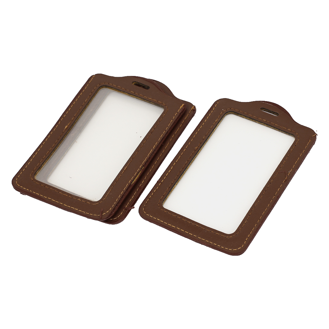 School Office Faux Leather Vertical Name Tag ID Badge Card Holder Carrier Brown 3pcs