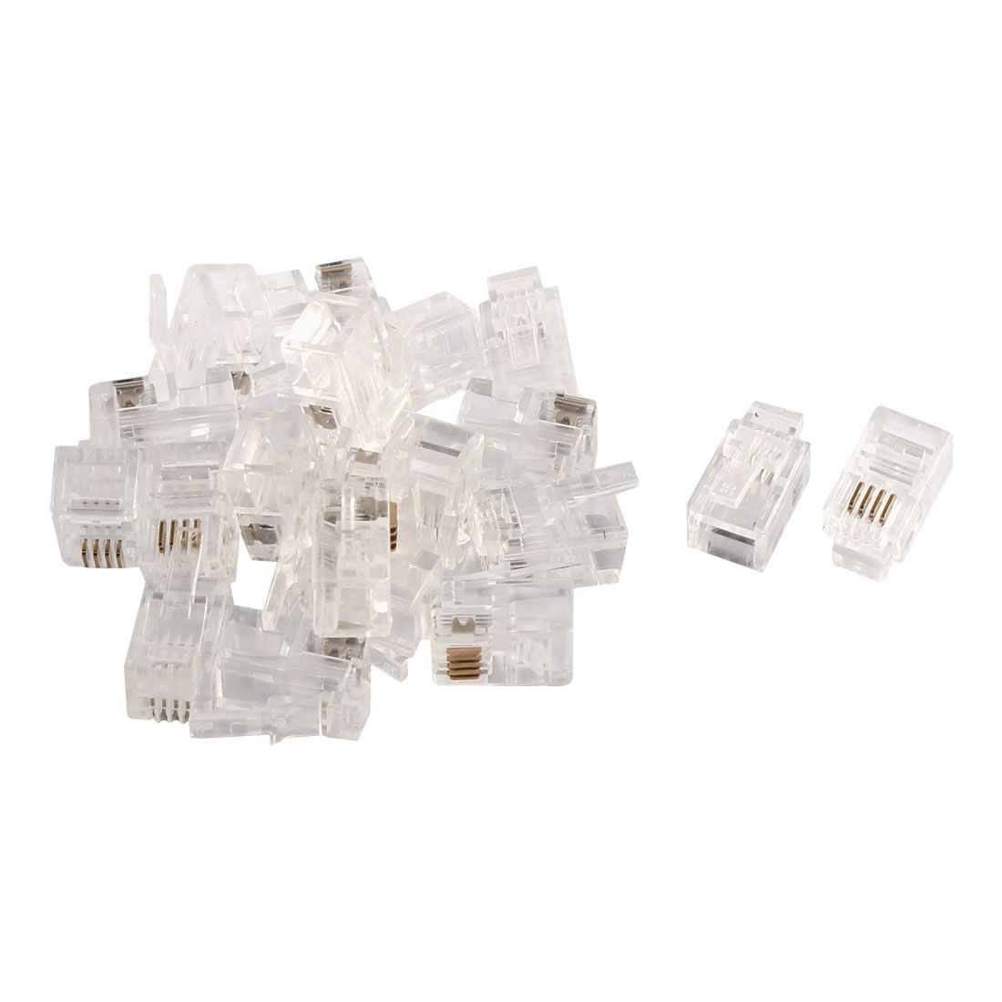 Household RJ9 4P4C Telephone Cable End Phone Adapter Connector Modular 20pcs