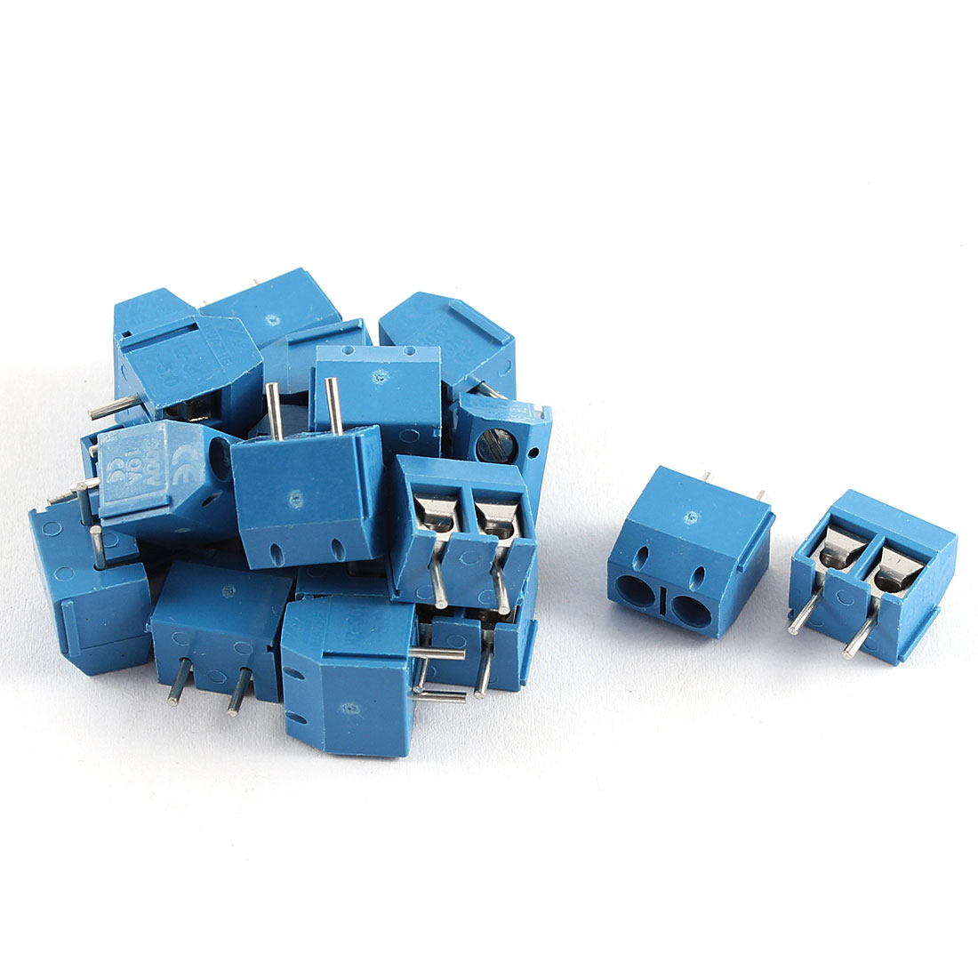 300V 10A 2P 5mm Pitch Single Row PCB Mount Screw Terminal Block Straight Connector 20pcs Blue