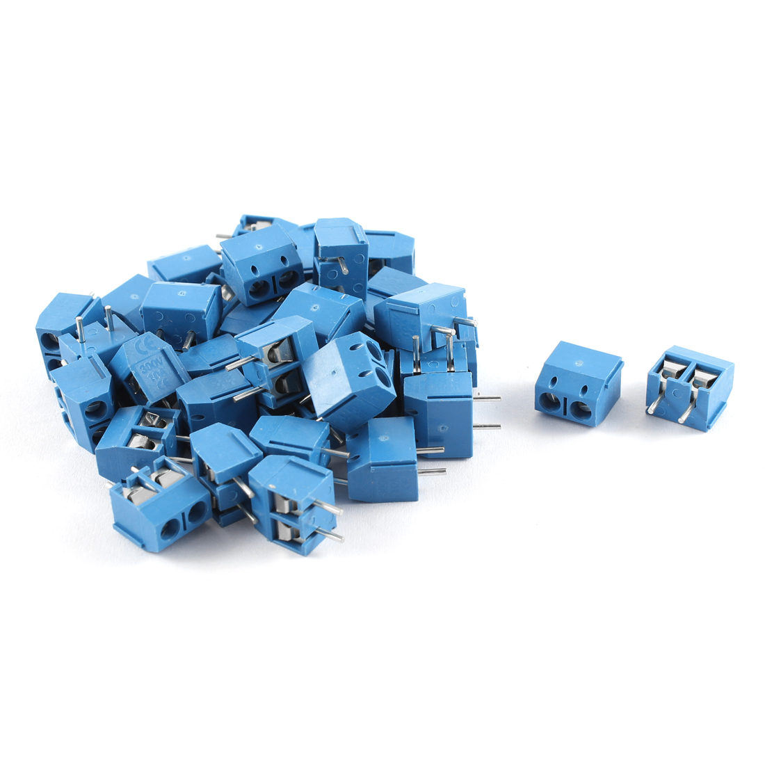 300V 10A 2P 5mm Pitch PCB Mounted Screw Terminal Block Straight Connector 40pcs Blue