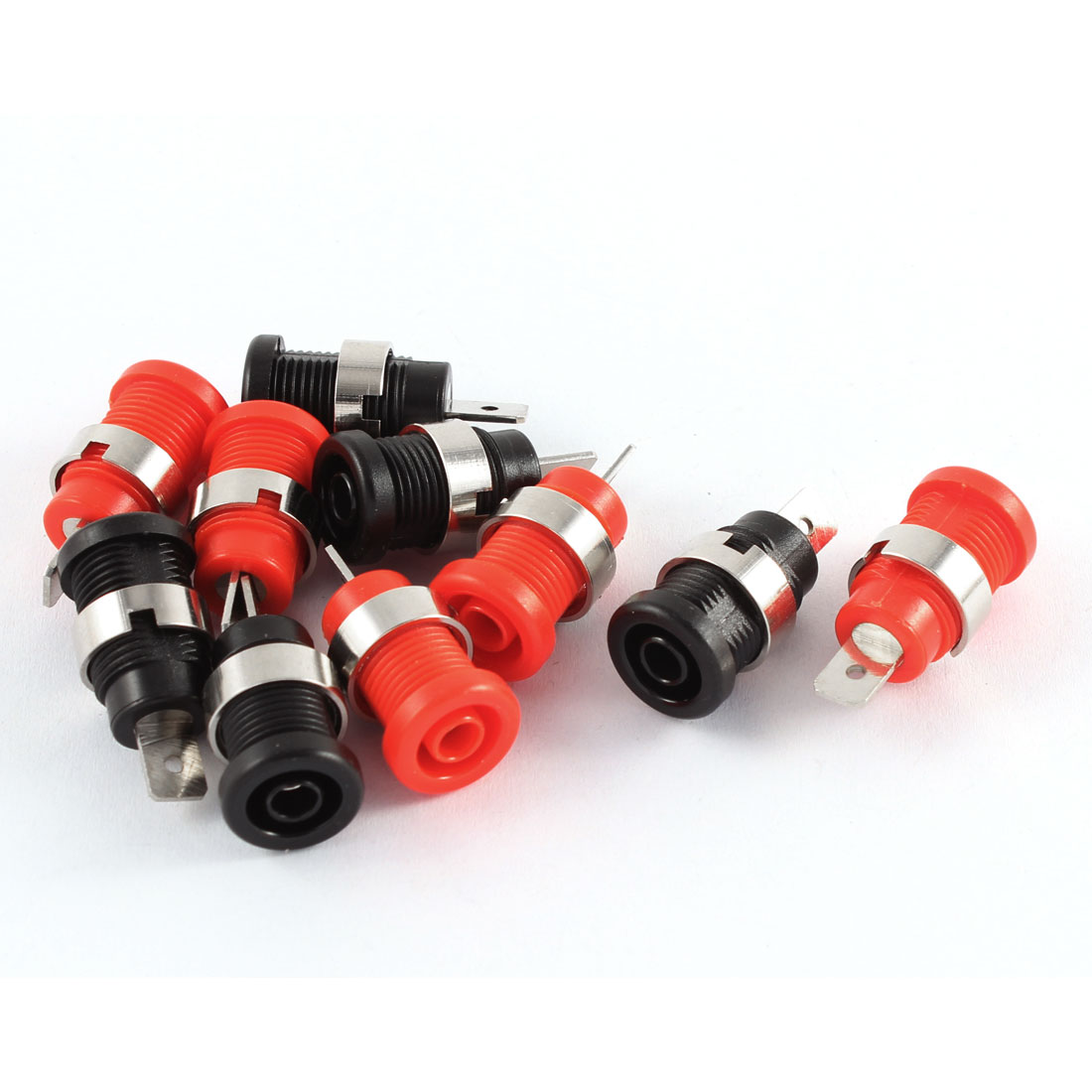 10 Pcs Black Red Plastic Housing Binding Post Banana Jack Adapter for 4mm Safety Protection