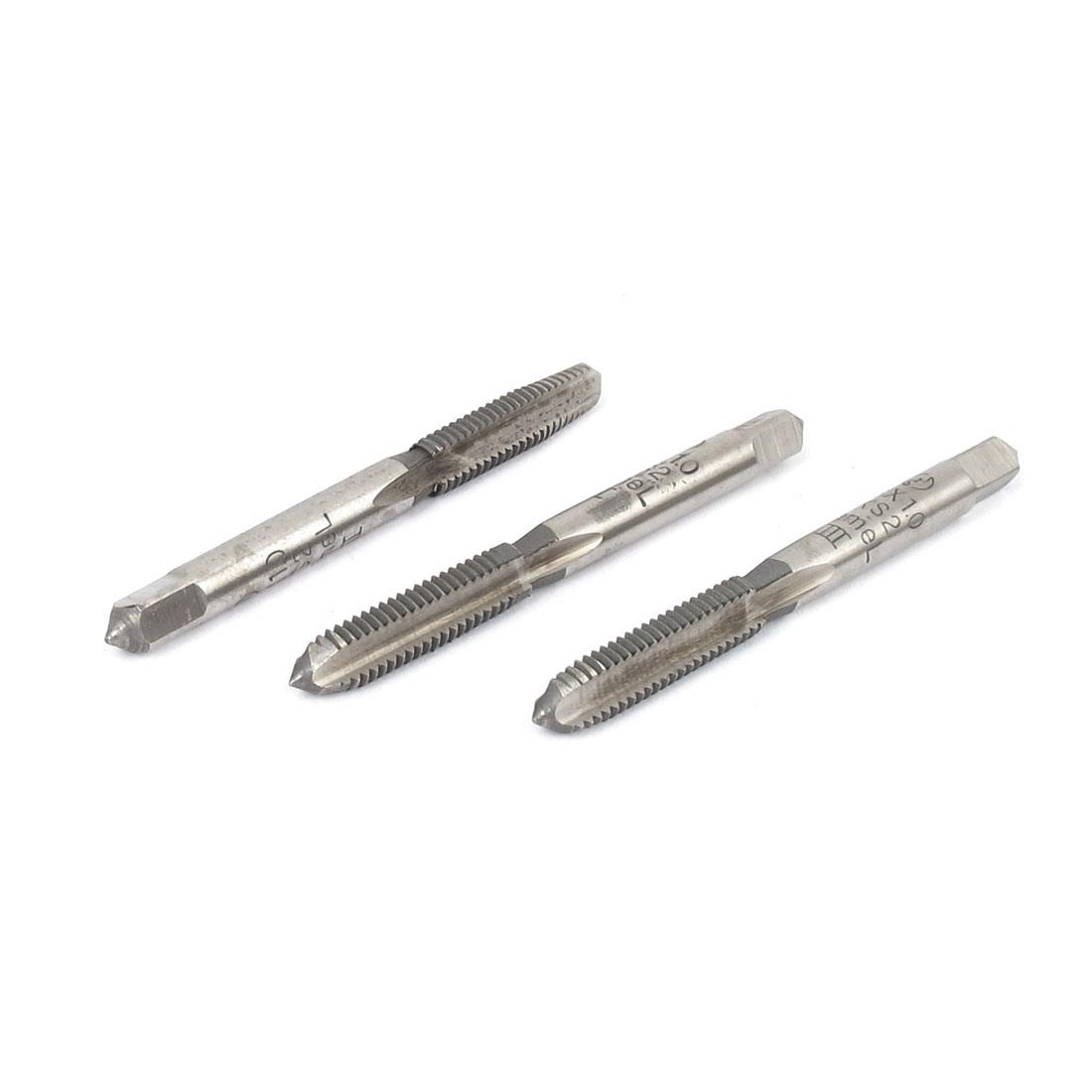 3 Pcs HSS M6x1.0mm 3 Flutes Square Head Machine Screw Thread Tap Hand Tool