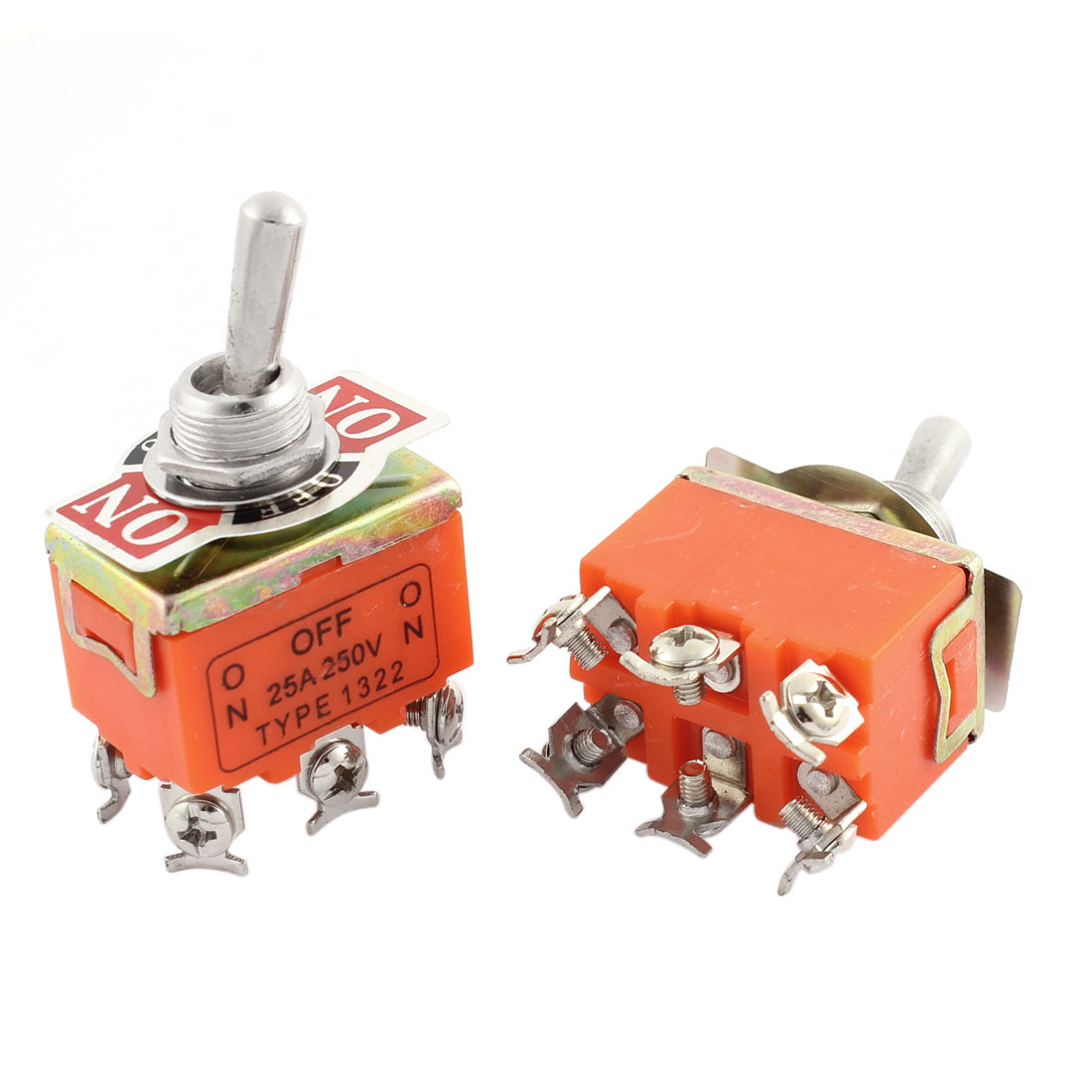 AC 250V 25A DPDT ON-OFF-ON Control 3 Positions 6 Screw Terminals Panel Mounting Self Locking Power Rocker Toggle Switch 2pcs Orange