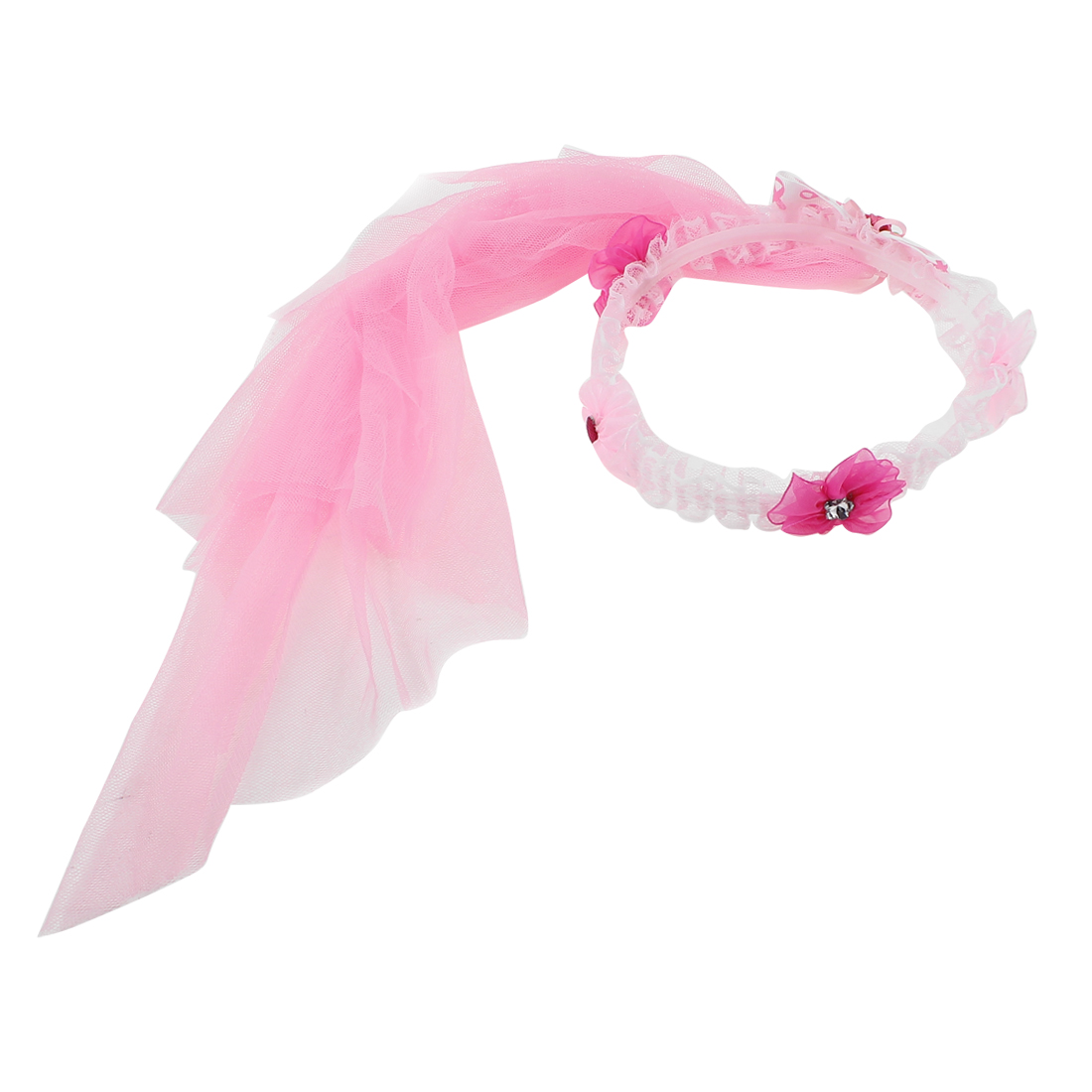 Bridal Wedding Party Flower Decor Adjustable Headdress Garland Wreath Veil Pink