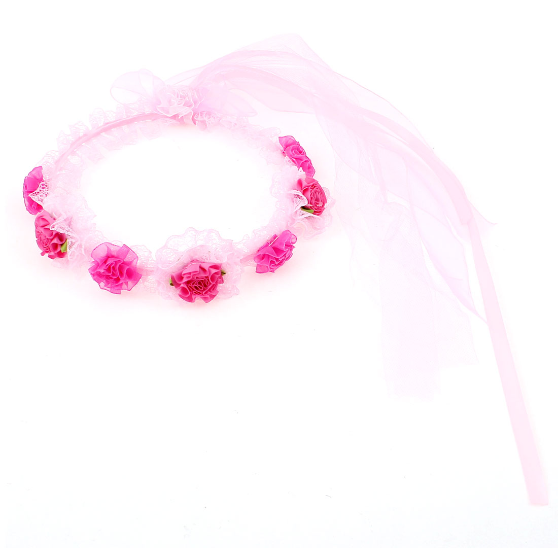 Bridal Wedding Party Flower Ribbon Decor Headdress Hair Garland Wreath Veil Pink