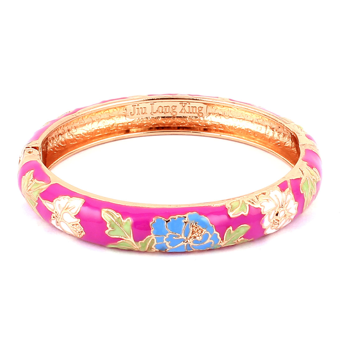 Woman Chinese Style Flower Carved Enamel Wrist Cuff Bracelet Bangle Fuchsia