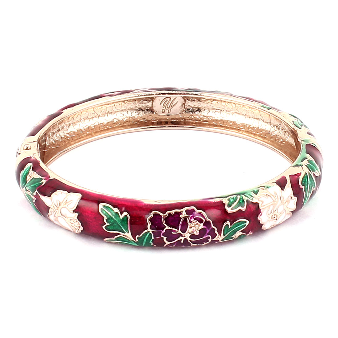 Vintage Style Gold Plated Hinge Cuff Floral Enamel Bangle Bracelet Jewelry