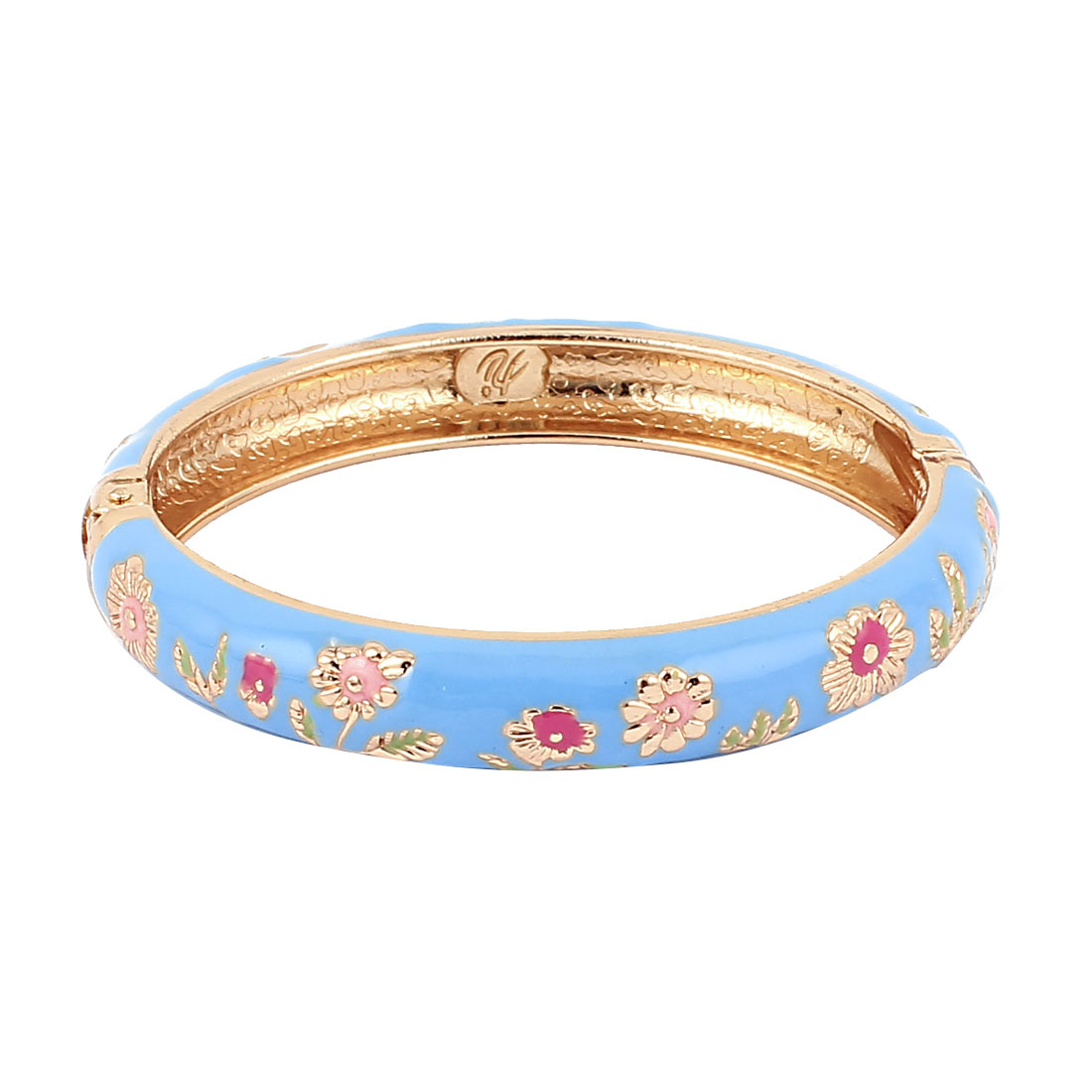 Chinese Style Flower Carved Openable Enamel Bangle Jewelry Bracelet