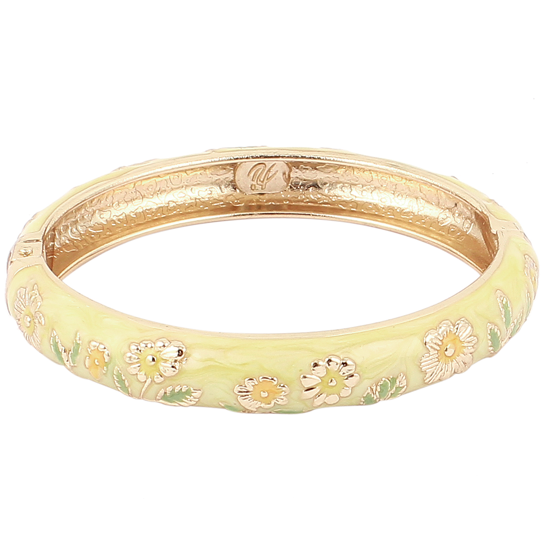 Lady Flower Carved Gold Filled Enamel Band Bangle Jewelry Yellow