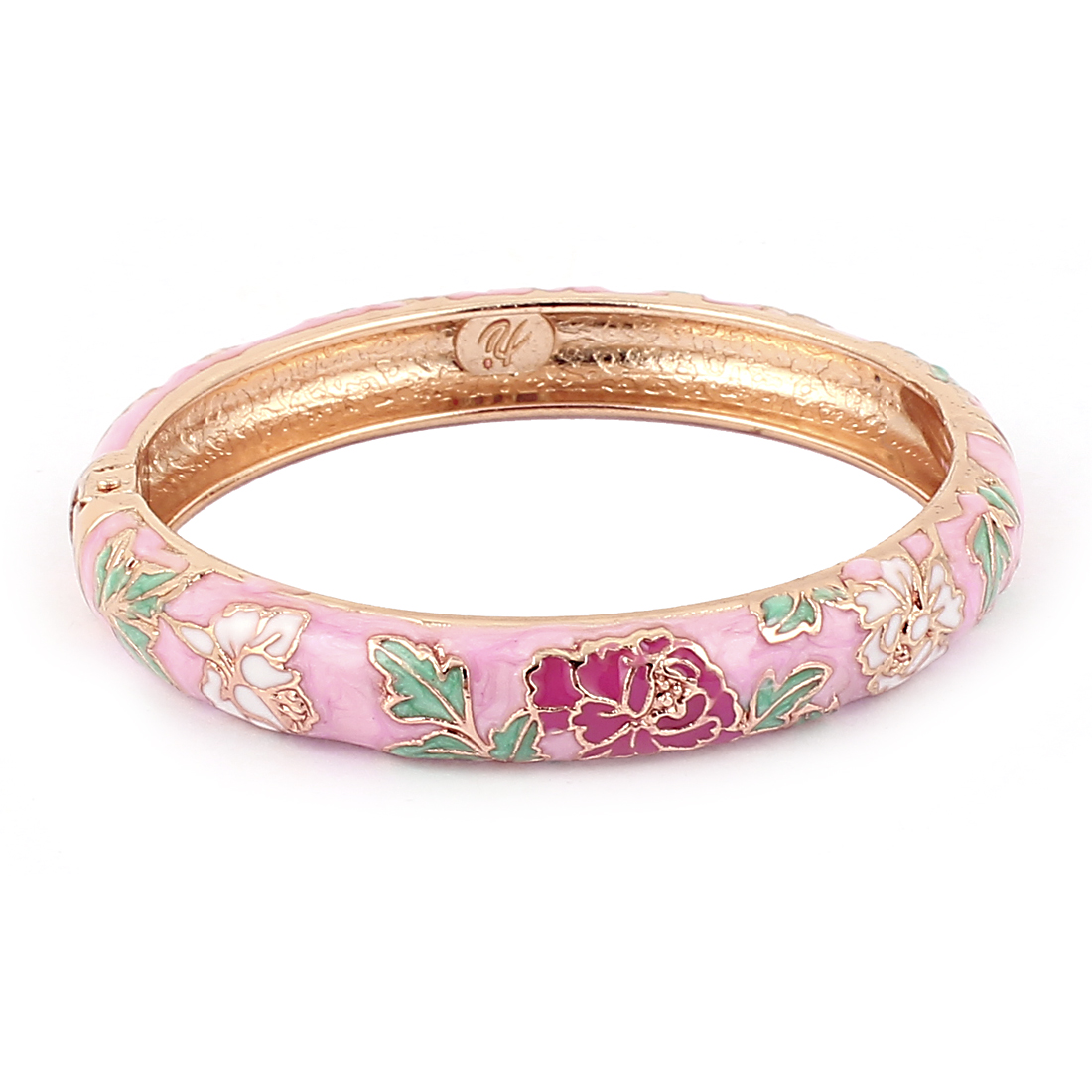 Lady Floral Gold Plated Hinge Clasp Enamel Bangle Cuff Bracelet Jewelry