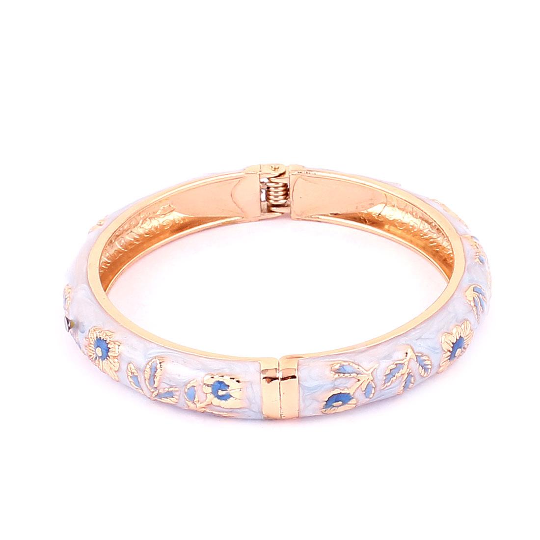Lady Women Gold Plated Hinged Enamel Floral Bangle Bracelet Jewelry