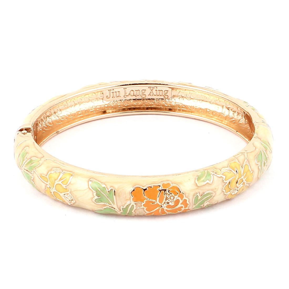 Metal Spring Loaded Openable Gold Plated Enamel Flower Bangle Bracelet
