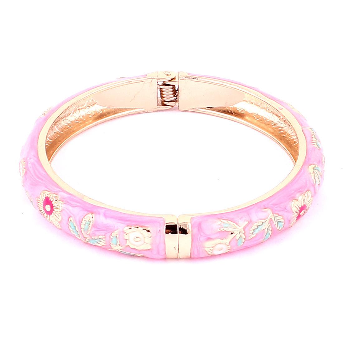 Women Gold Plated Spring Hinge Cuff Enamel Bangle Bracelet Jewelry Gift Pink
