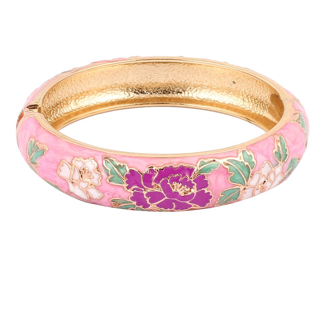 Lady Women Flower Carved Openable Enamel Bangle Bracelet Jewelry Gift Pink