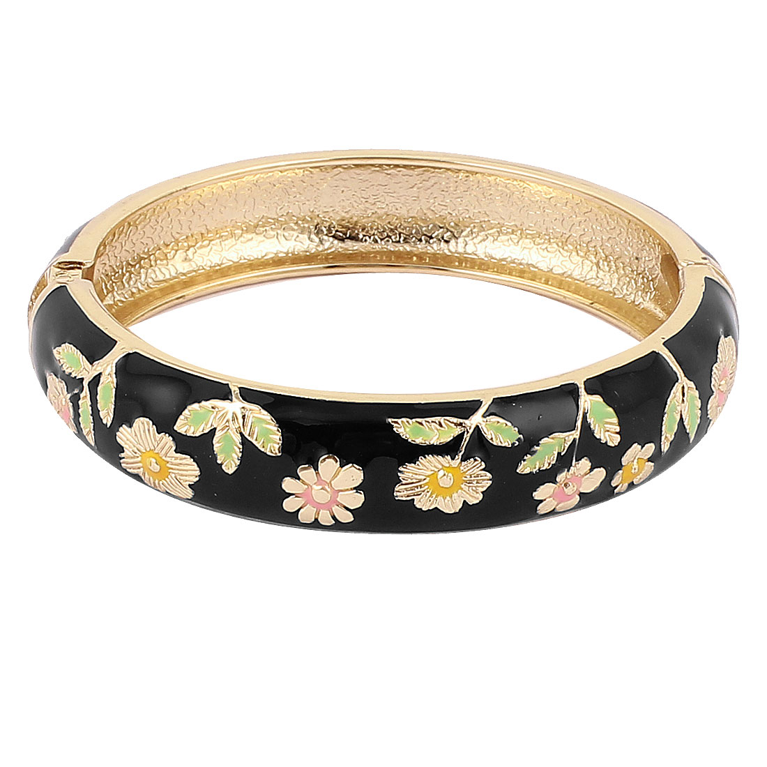 Lady Spring Loaded Wide Enamel Bangle Bracelet Jewelry Party Gift