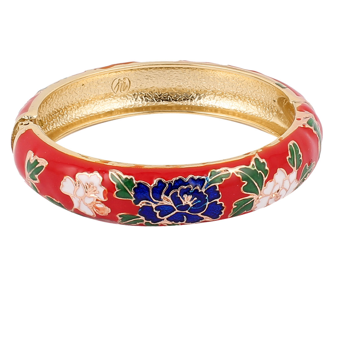 Women Floral Gold Plated Wide Enamel Bangle Jewelry Bracelet Gift Red