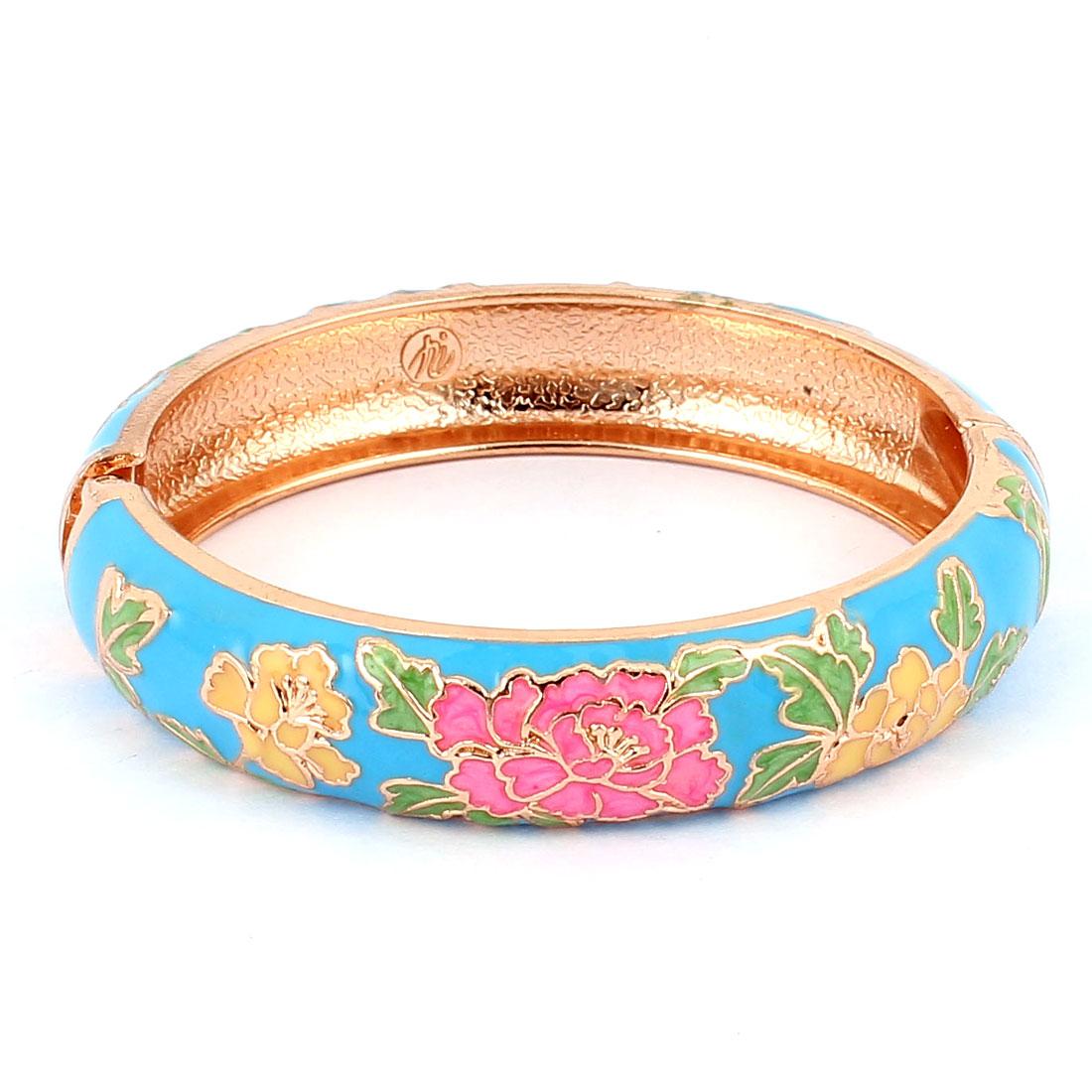 Women Floral Carved Enamel Hinged Bangle Bracelet Jewelry Blue