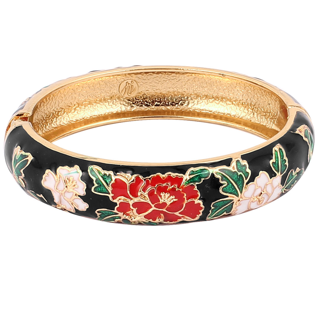 Lady Flower Carved Enamel Spring Bangle Hinge Bracelet Jewelry Black