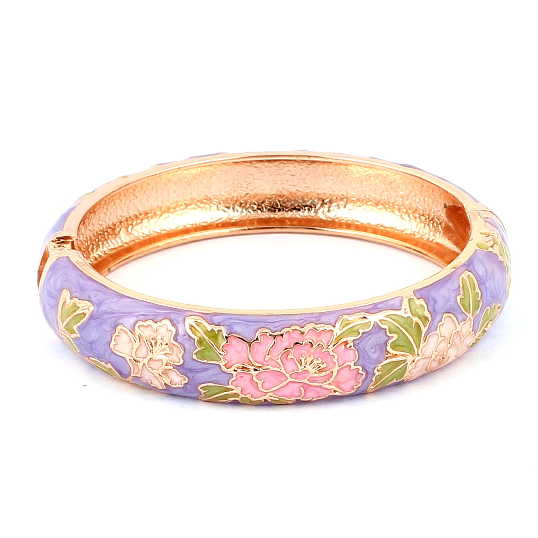Lady Flower Carved Gold Plated Cuff Open Bracelet Bangle Jewelry Light Purple