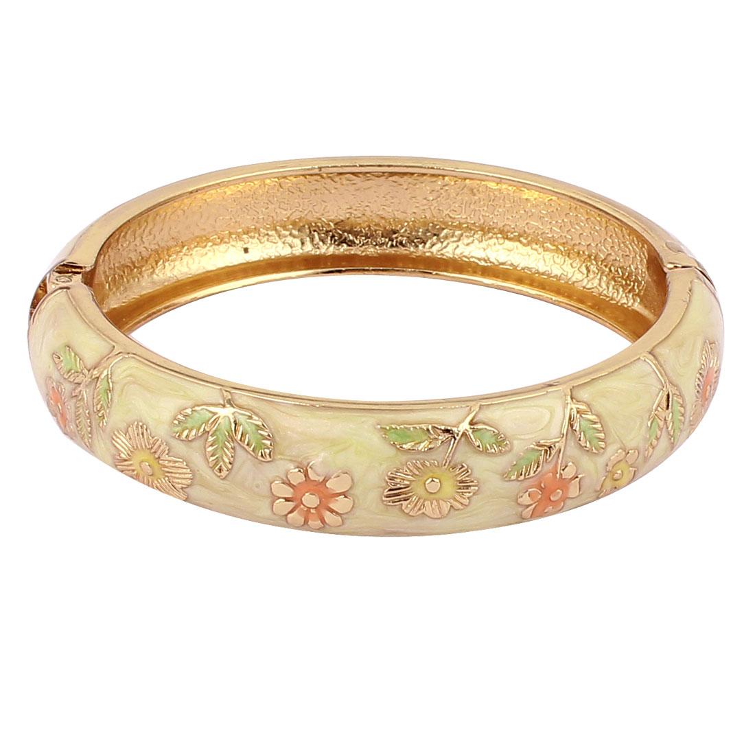 Lady Women Flower Carved Enamel Clasp Bangle Bracelet Gift Jewelry Beige