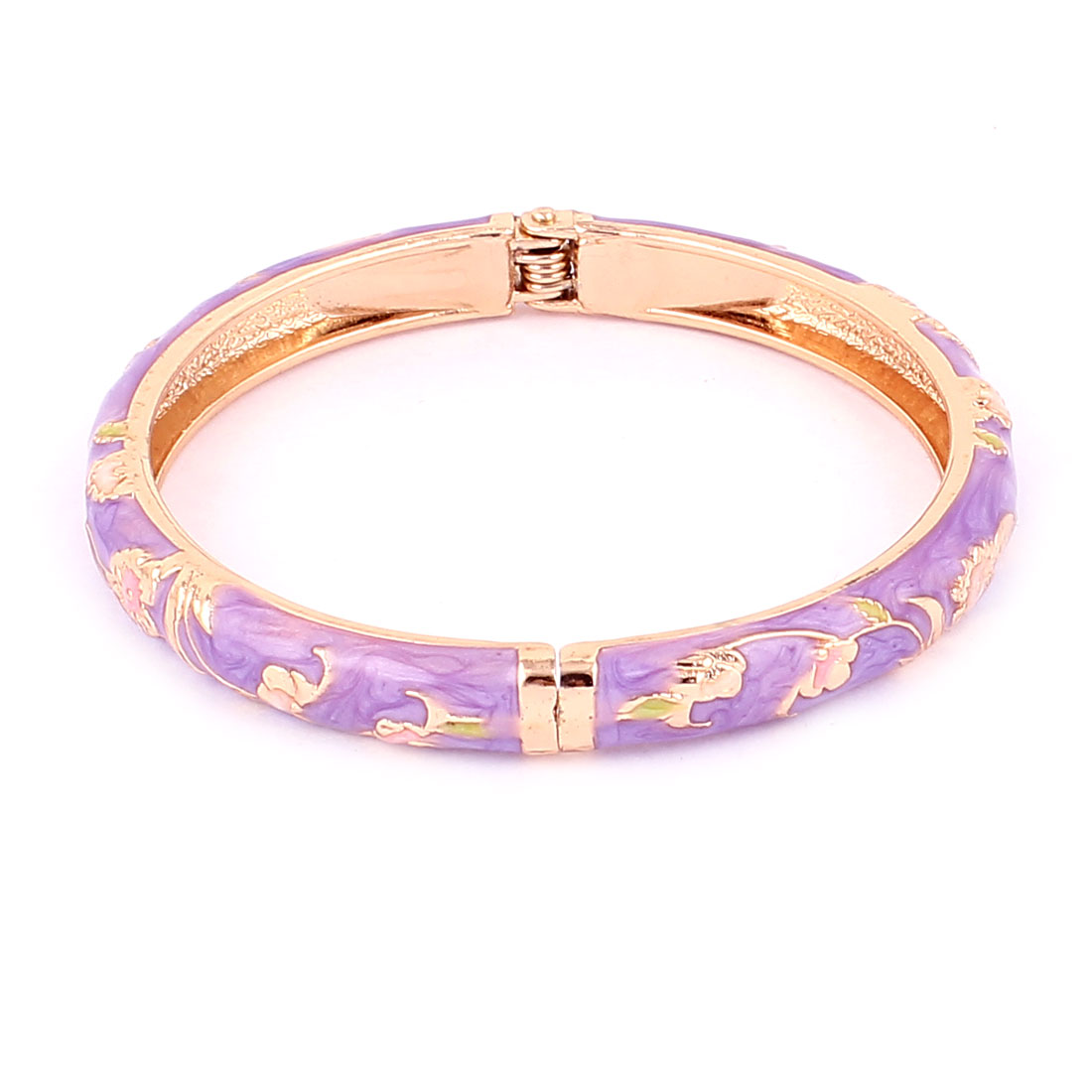 Lady Spring Openable Plated Bangle Jewelry Bracelet Gift Purple