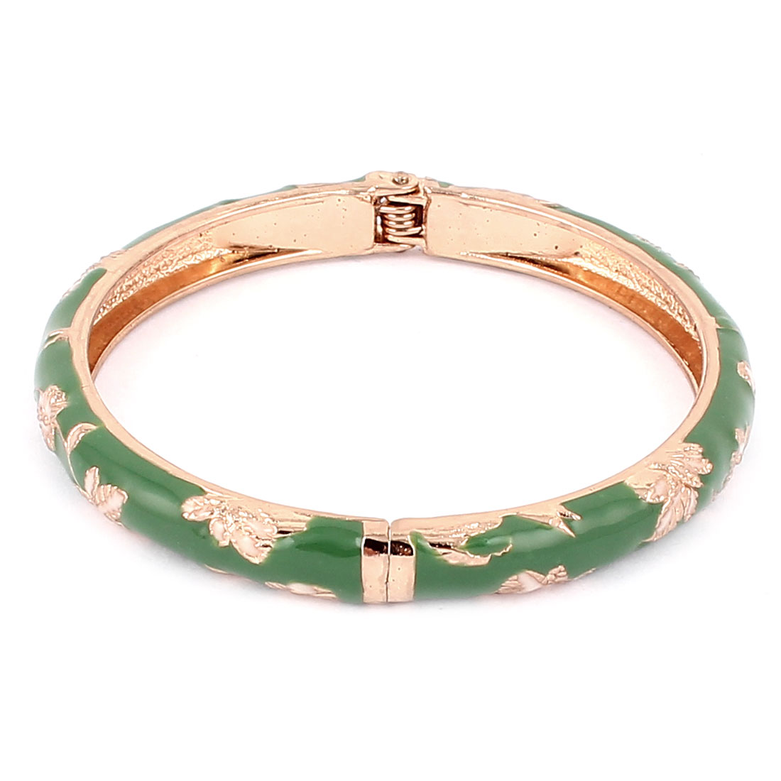 Women Flower Carve Slender Round Bangle Bracelet Wristband Decor Green