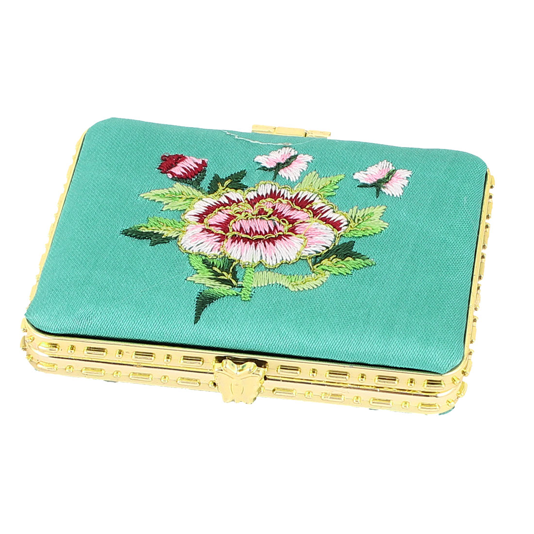 Silk Embroidery Rectangular Folding Pocket Makeup Cosmetic Mirror Turquoise