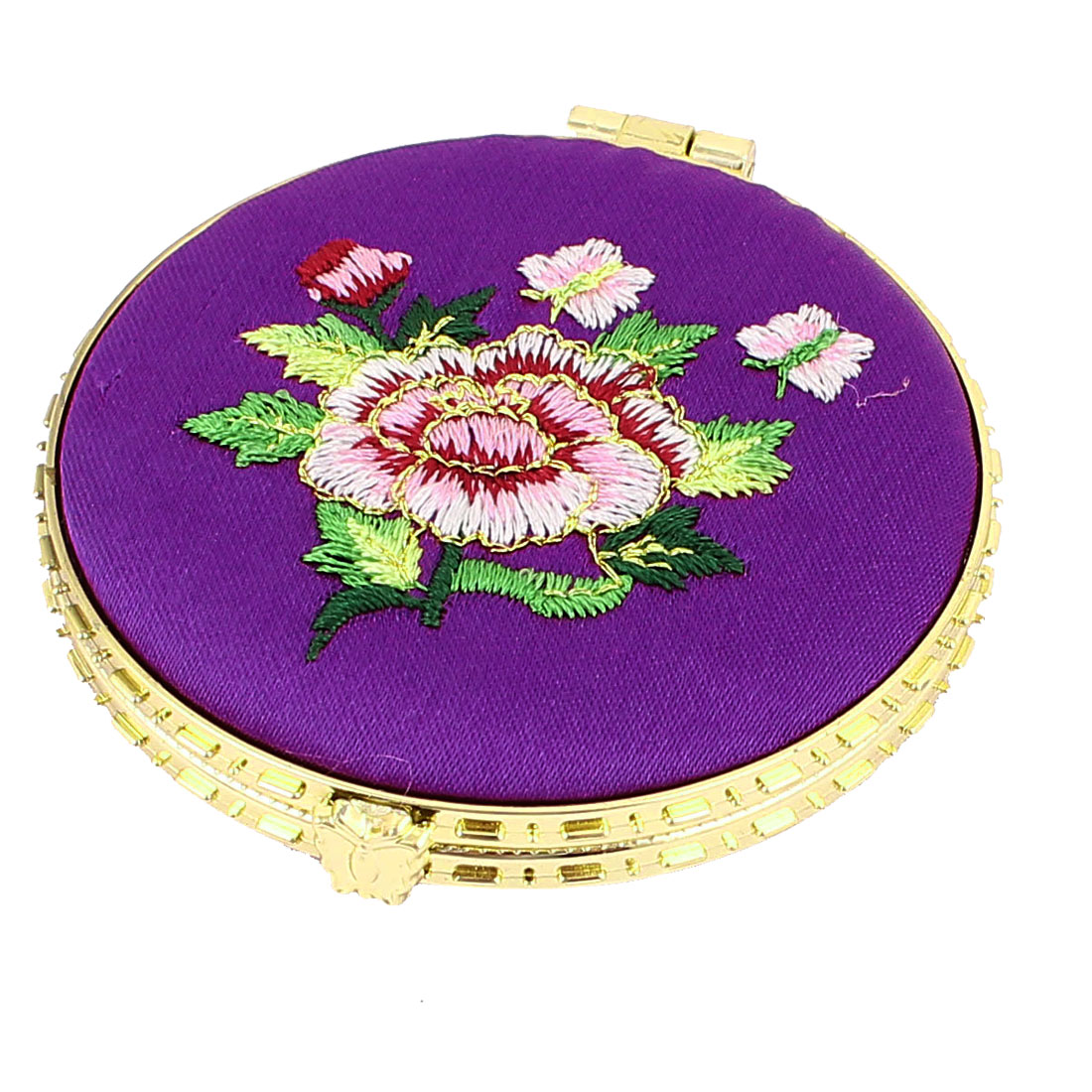 Silk Embroider Round Shape Folding Portable Pocket Makeup Cosmetic Mirror Purple