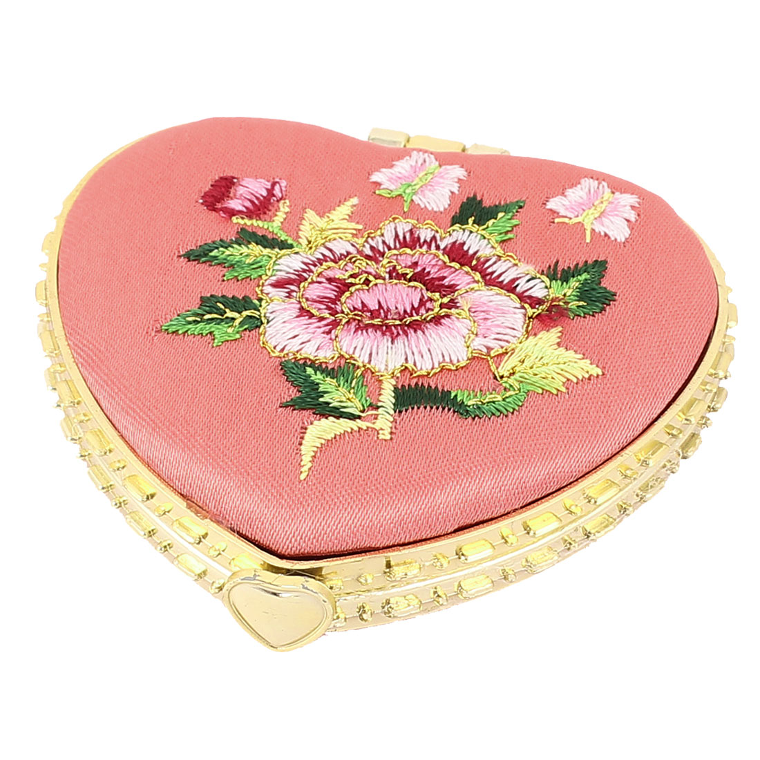 Silk Embroidery Heart Shape Folding Portable Pocket Makeup Cosmetic Mirror Pink