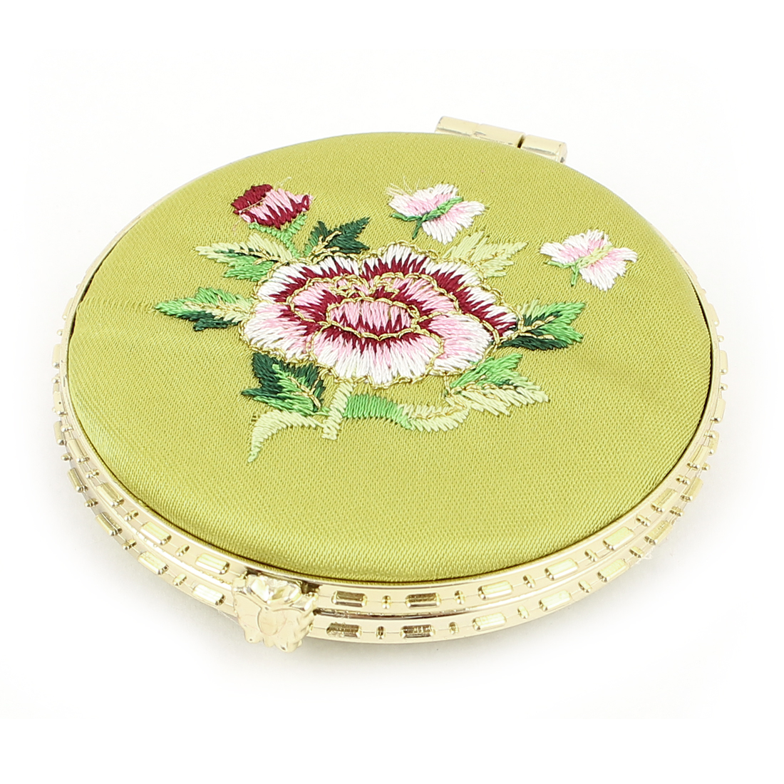 Silk Embroidery Round Shape Folding Pocket Makeup Cosmetic Mirror Olive Green