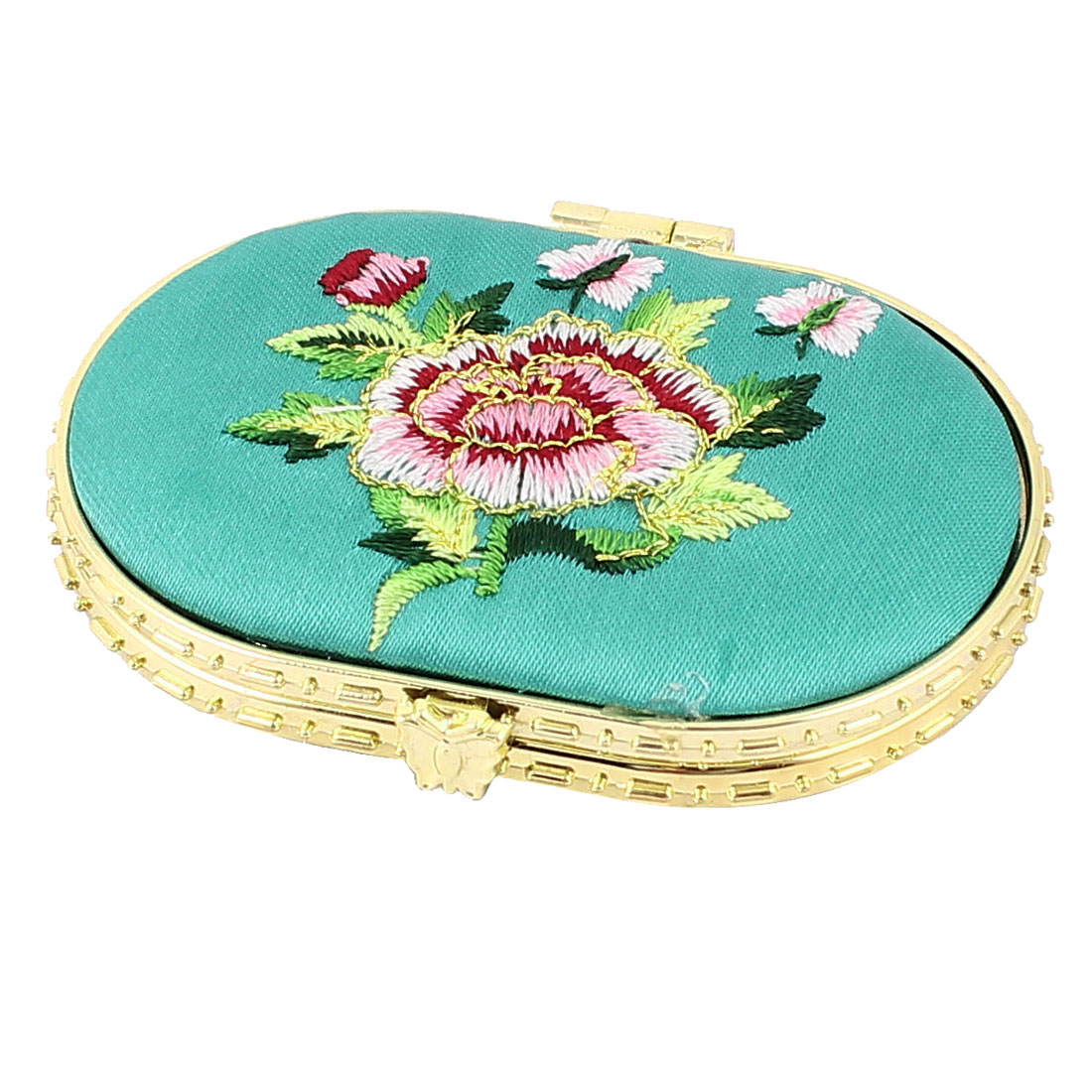 Embroidery Silk Oval Folding Dual Side Pocket Makeup Cosmetic Mirror Turquoise