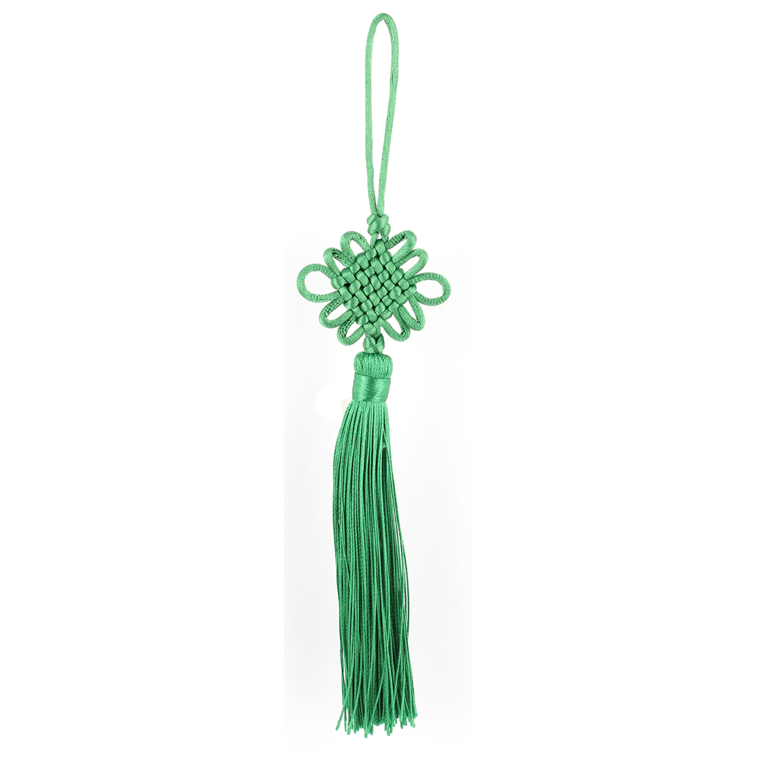 Home Car Festival Handmade Tassel Knitted Chinese Knot Hanging Ornament Green