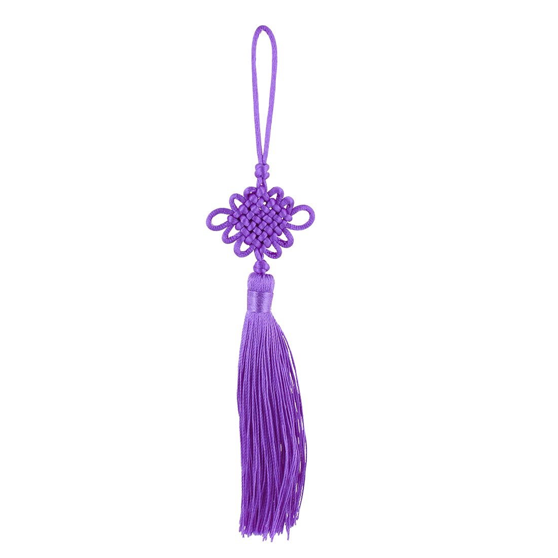 Festival Home Car Handmade Tassel Knitted Chinese Knot Hanging Ornament Purple