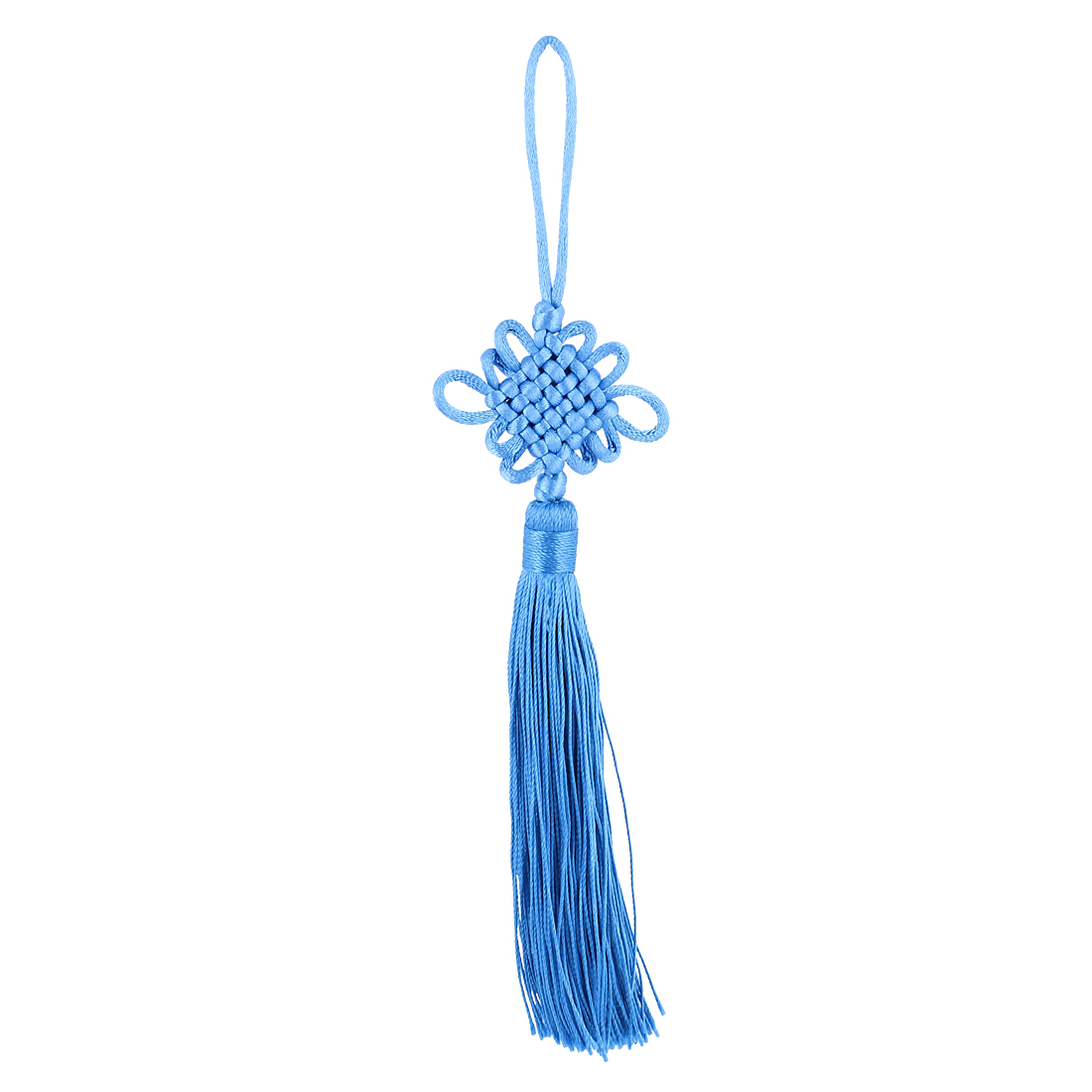 Festival Home Car Handmade Tassel Knitted Chinese Knot Hanging Ornament Blue