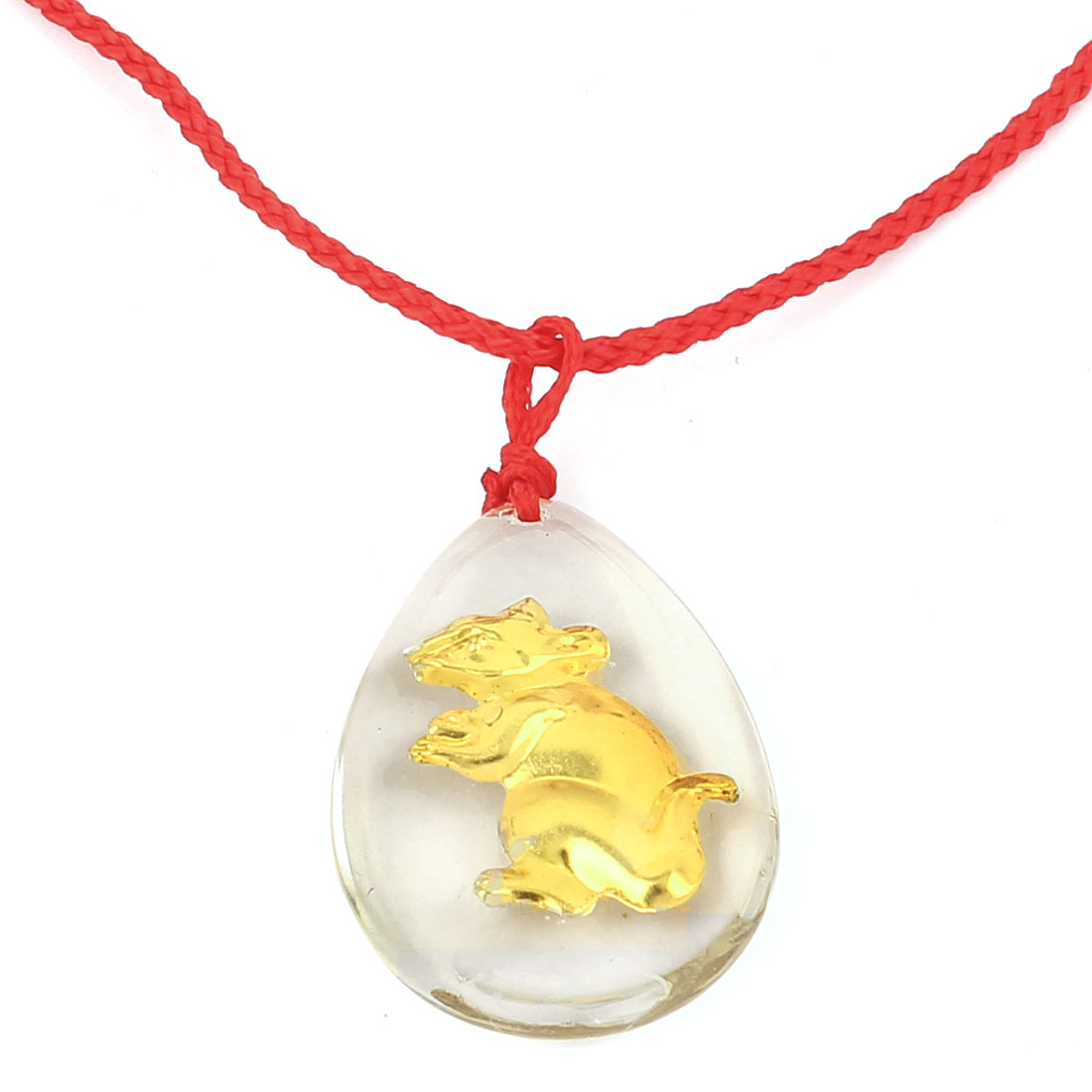 Braided String Chinese Zodiac Rat Inlaid Oval Faux Crystal Pendant Necklace Red